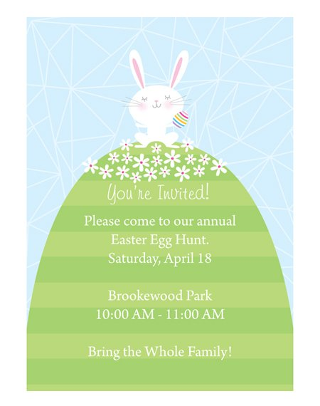 Cute, free printable Neighborhood Easter Egg Hunt Invitation