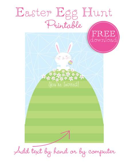 Darling free printable Easter Egg Hunt Invitation