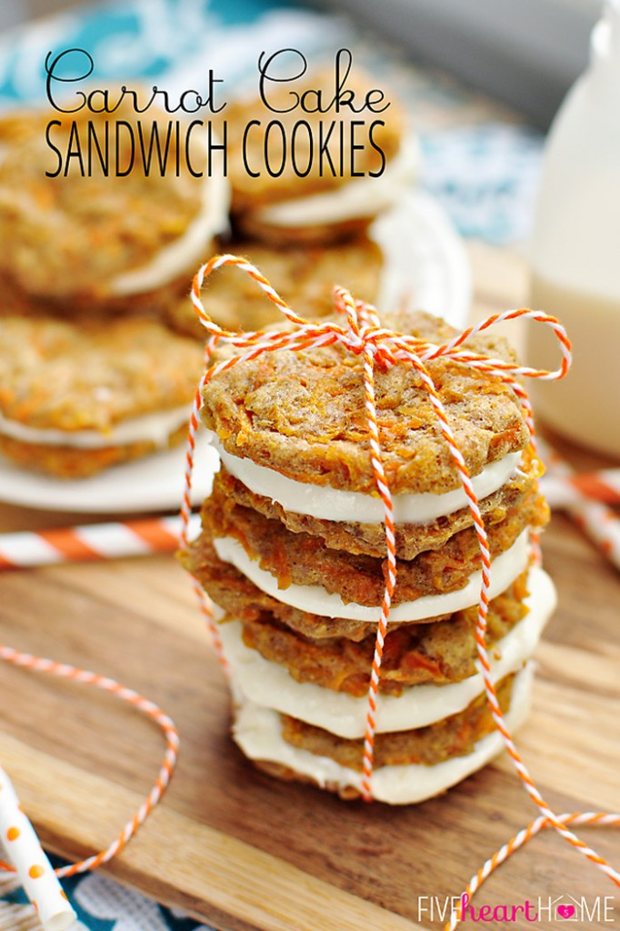 Carrot Cake Sandwich Cookies via Five Heart Home