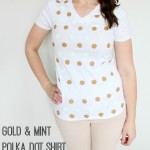 DIY gold and mint polka dot shirt