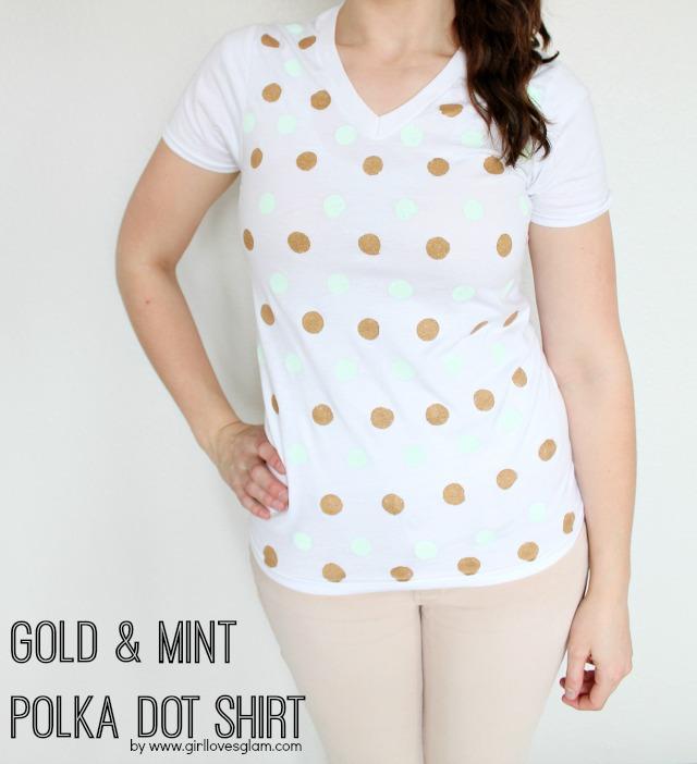 Diy gold and mint polka dot shirt