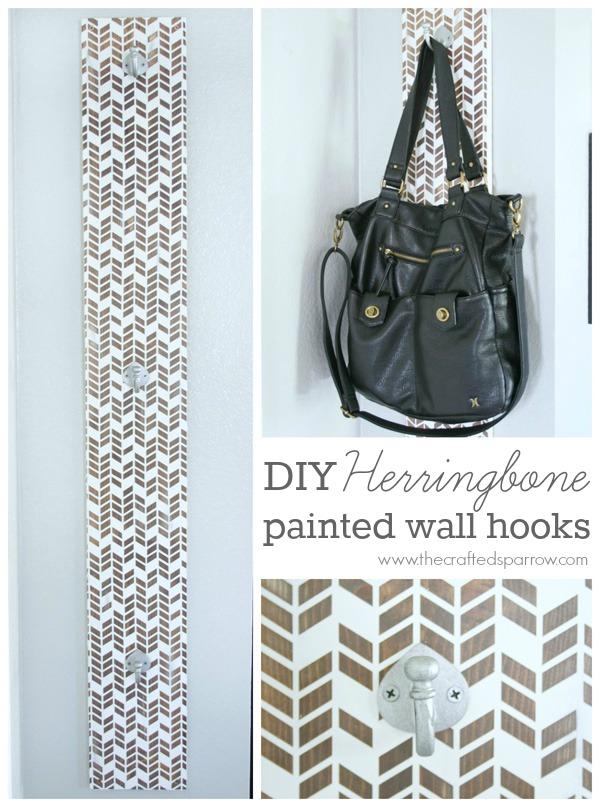 DIY Herringbone Wall Hooks via Crafted Sparrow