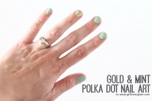 Gold and Mint Polka Dot Nail Art