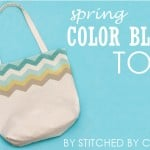 Spring color blocked tote
