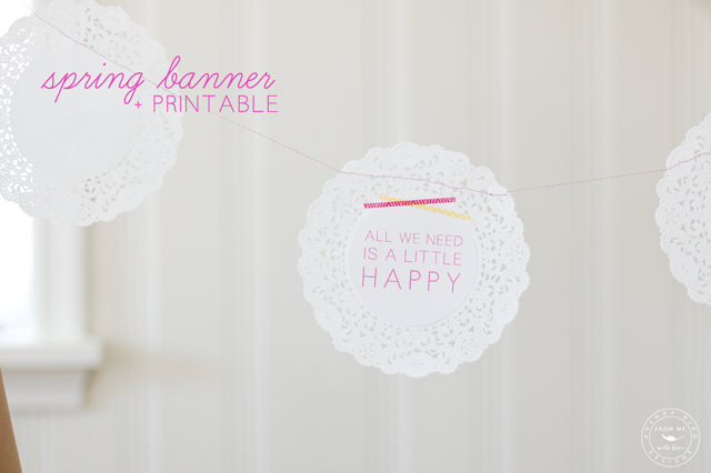 Spring doily banner with printable circles