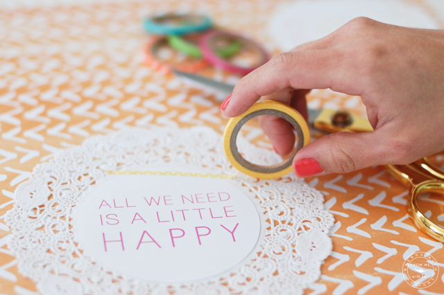 Cute Spring doily banner with washi tape embellishments