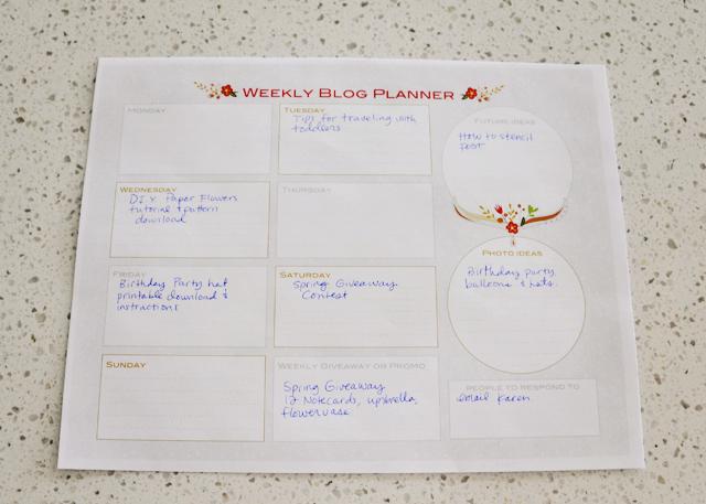 Free Printable Weekly Blog Planner