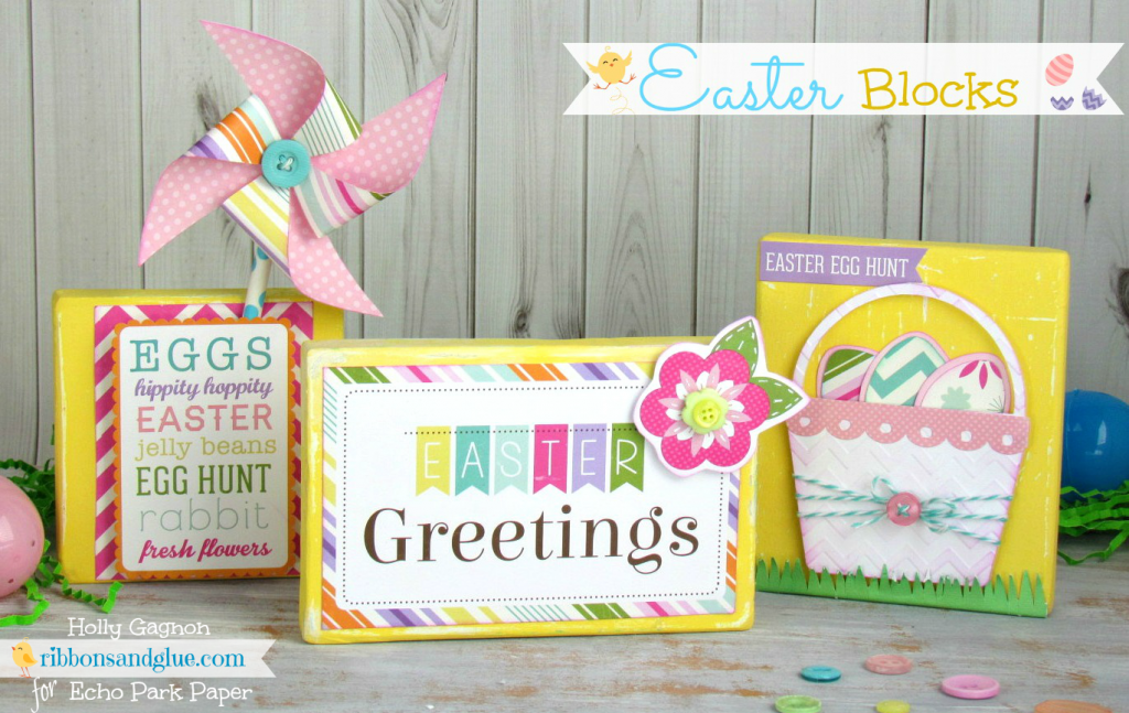 Easter Wood Blocks via Ribbons and Glue