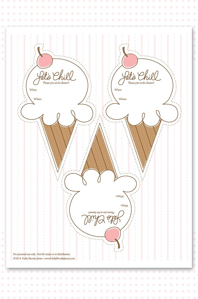 Ice Cream Party Printable Invitation