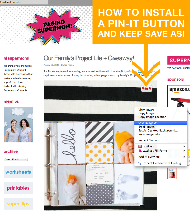 How to install the Pin-It button and retain right click and save functionality on your blog #Pinterest #PinterestTips #BloggingTips