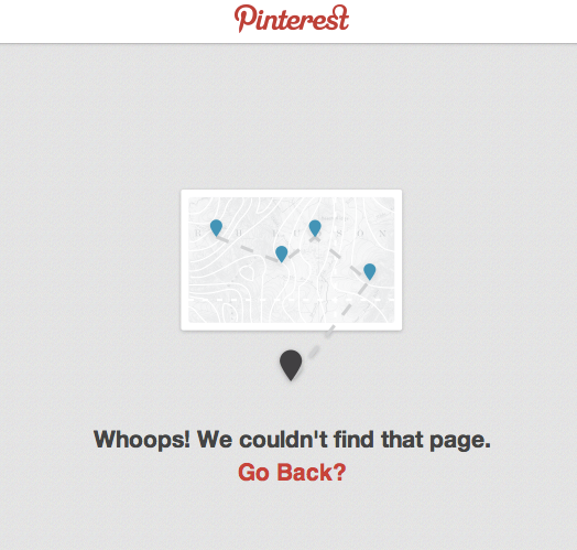 Pinterest Broken Link Screen
