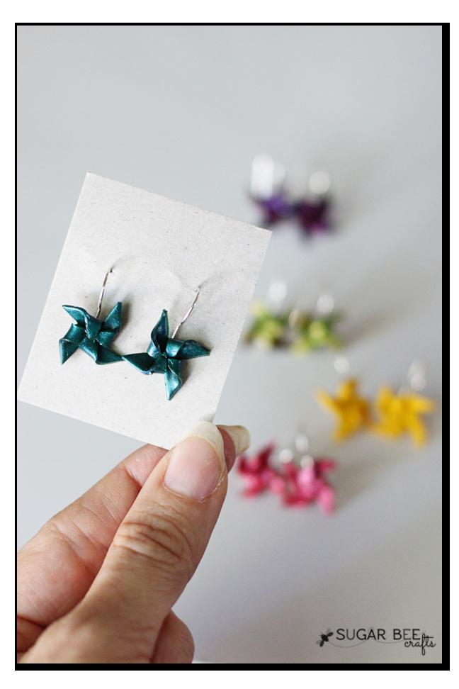 Pinwheel earrings via Sugar Bee Crafts