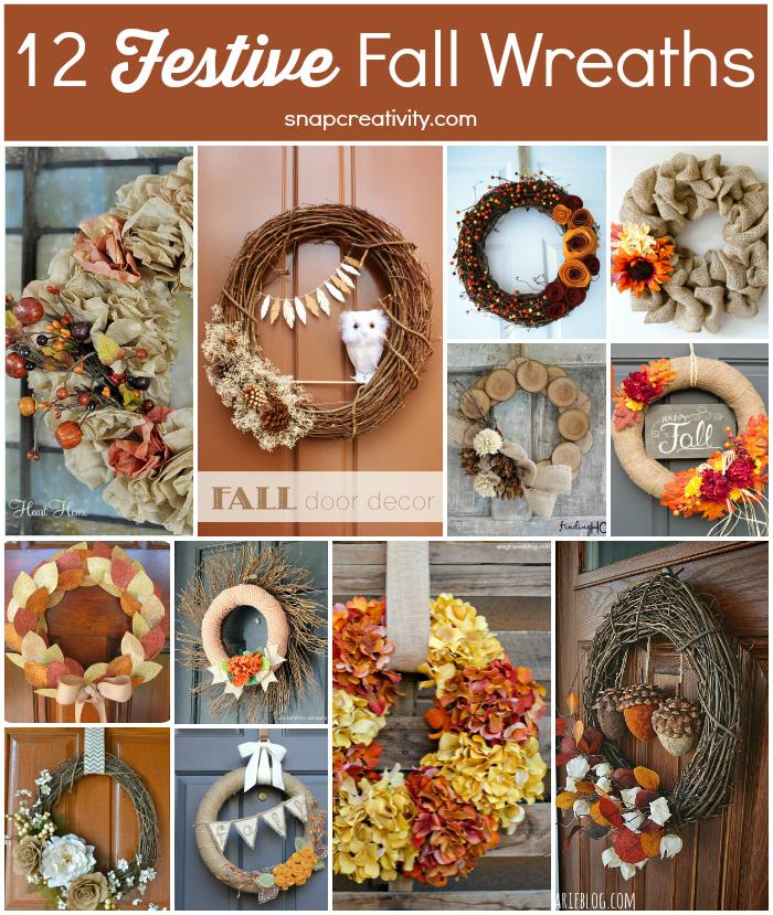 12 festive fall wreaths collage