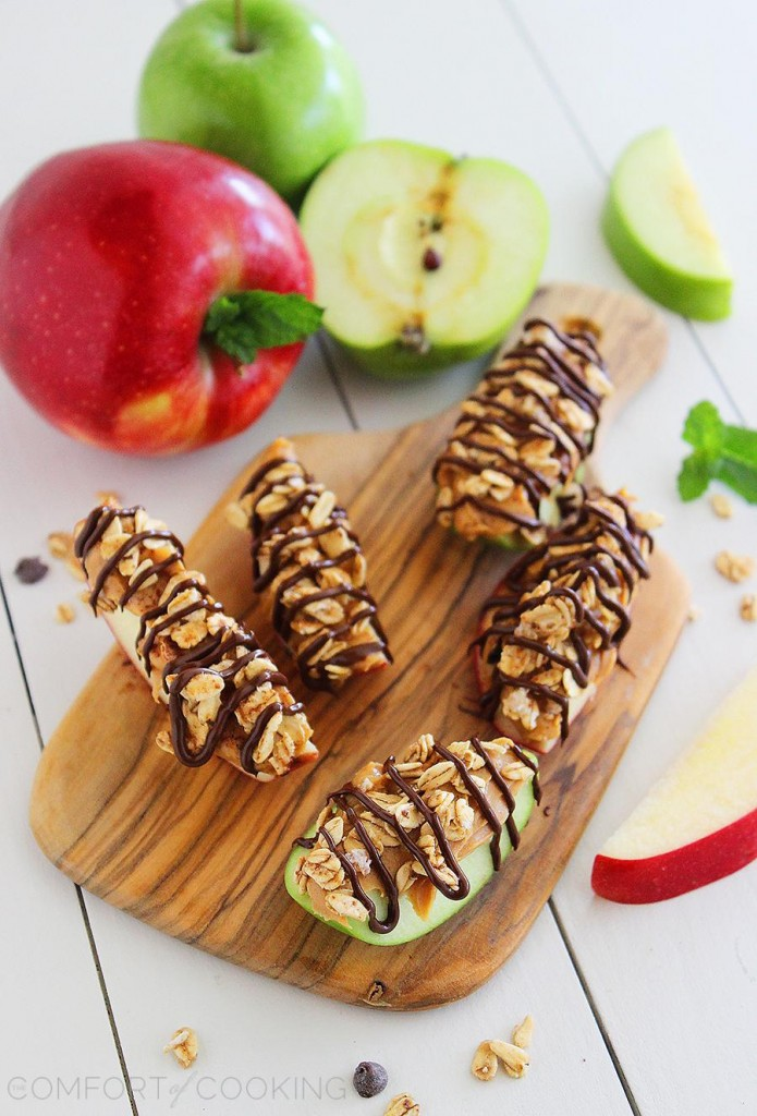Chocolate Peanut Butter Granola Apple Bites via @ComfortCooking Check out more great granola recipes for fall @SnapConf