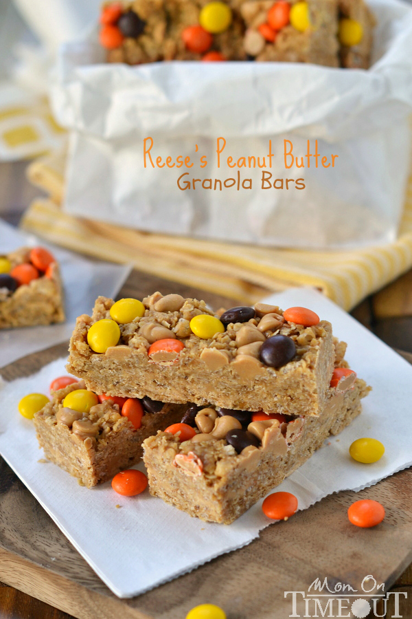 Reeses Peanut Butter Granola Bar Recipe. Check out this recipe and several other great granola recipes @SnapConf These are great for busy mornings and fall snacks