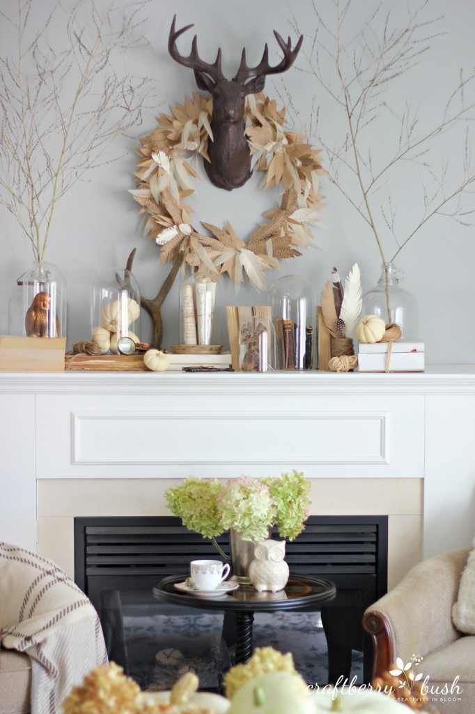 Eclectic fall mantel from Craftberry Bush