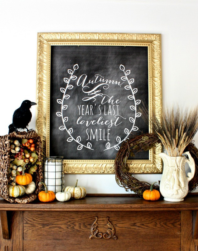 Fall Harvest Chalkboard Mantel from Nest of Posies