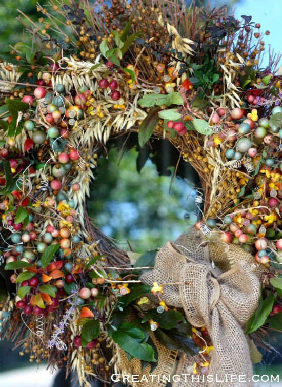 Re-worked fall wreath at Creating This Life