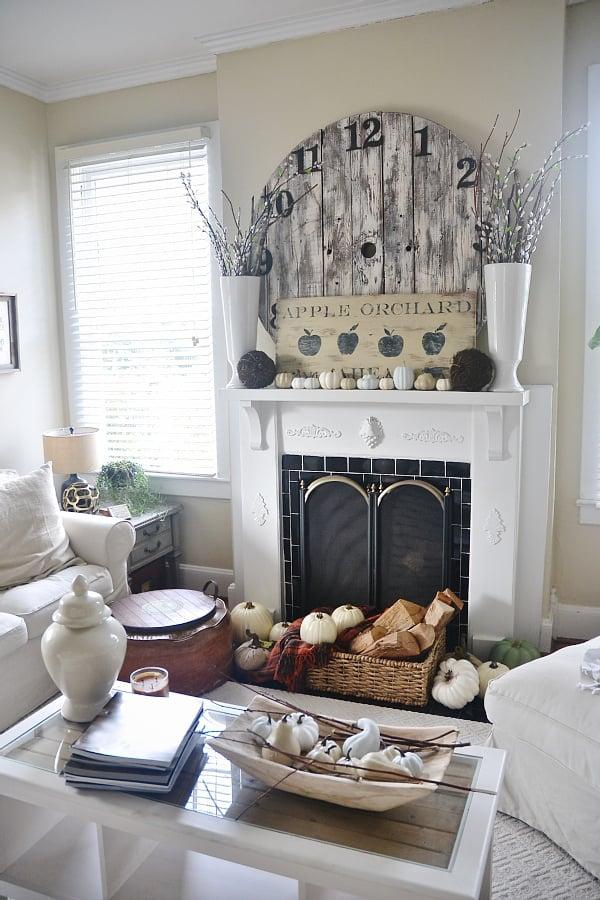 Beautiful fall mantel from Liz Marie