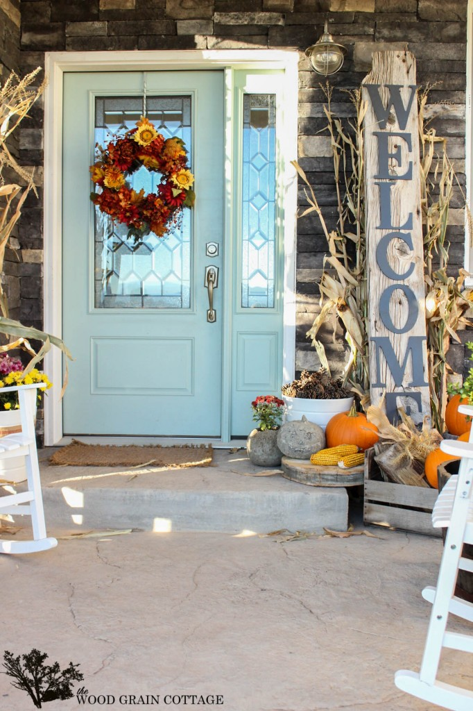 Reclaimed Wood Sign on a beautiful fall front porch seen on Fox Hollow Cottage