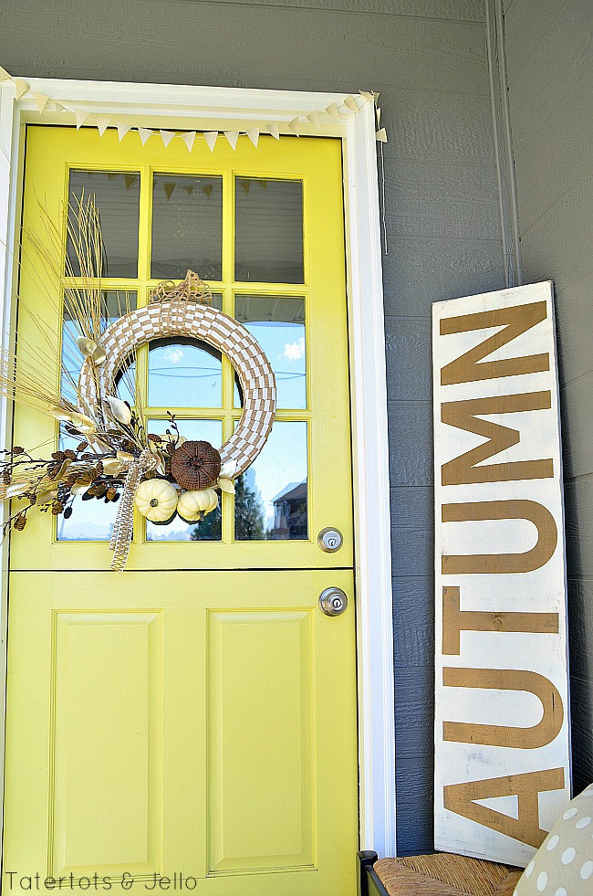 Fall front porch in golds and yellow from Tatertots & Jello