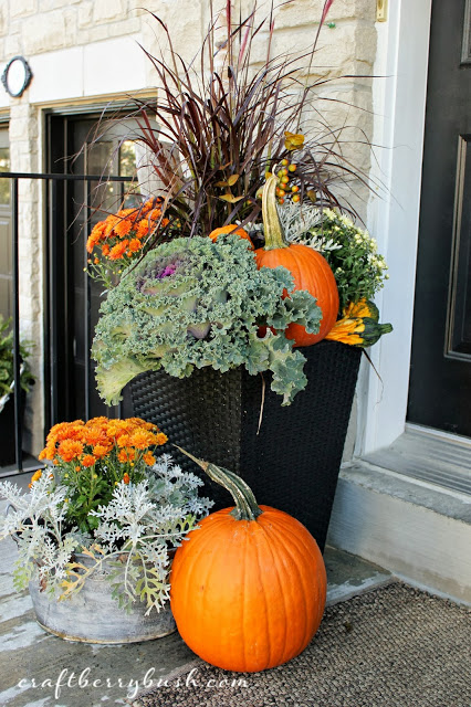 Fall planters for a front porch