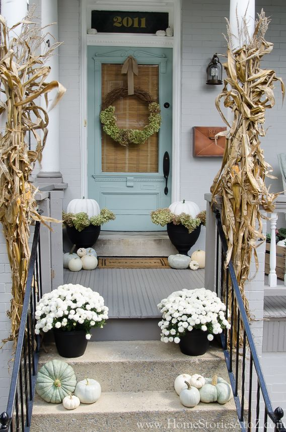 White and aqua fall front porch from Home Stories A to Z
