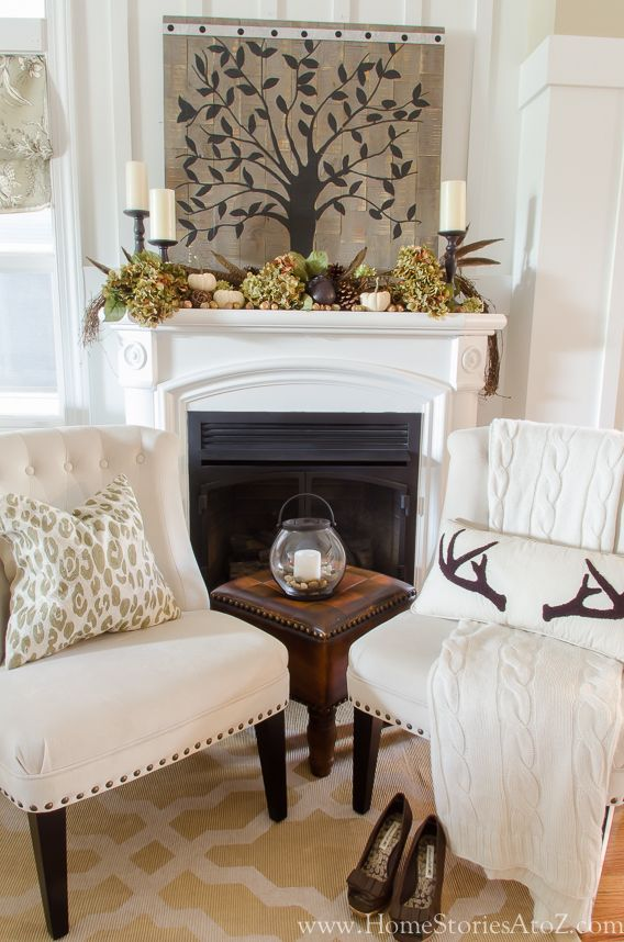 Fall mantel from Home Stories A to Z