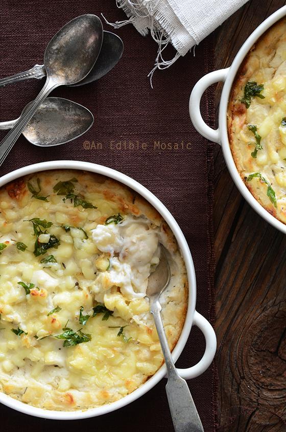 cheesy mashed cauliflower gratin