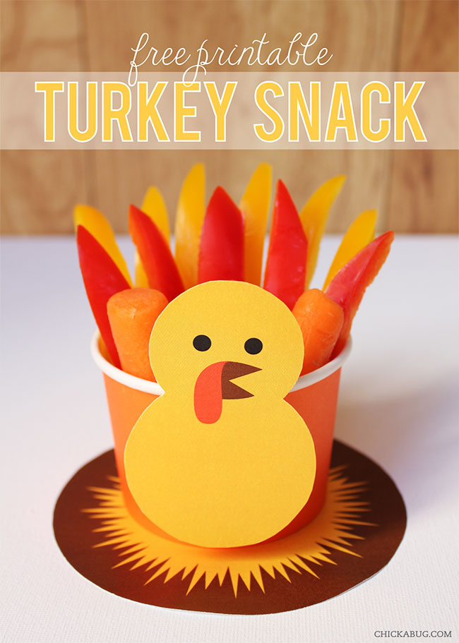 free printable turkey snack cup