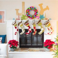 Joy holiday mantel