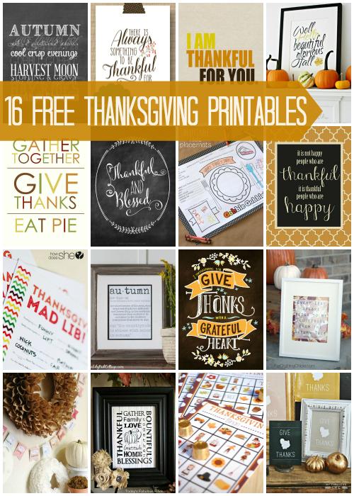 Free Thanksgiving Printables via Snap Creativity