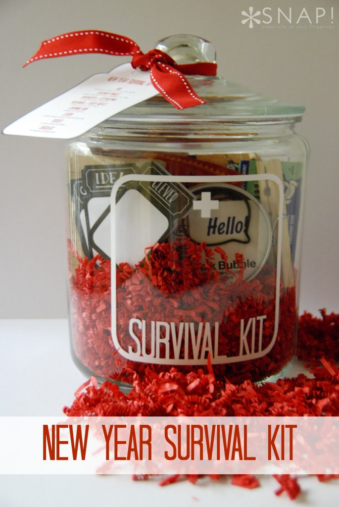 New Year Survival Kit Gift in a Jar - great gift idea for teachers, friends, neighbors. Can be delivered for Christmas or New Year's.