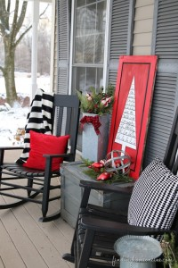 Red Black & White Christmas Front Porch