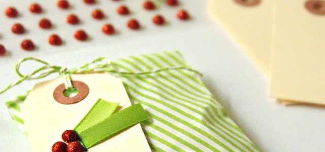 Simple holly berry gift tag for Christmas - easy and inexpensive way to dress up office tags.