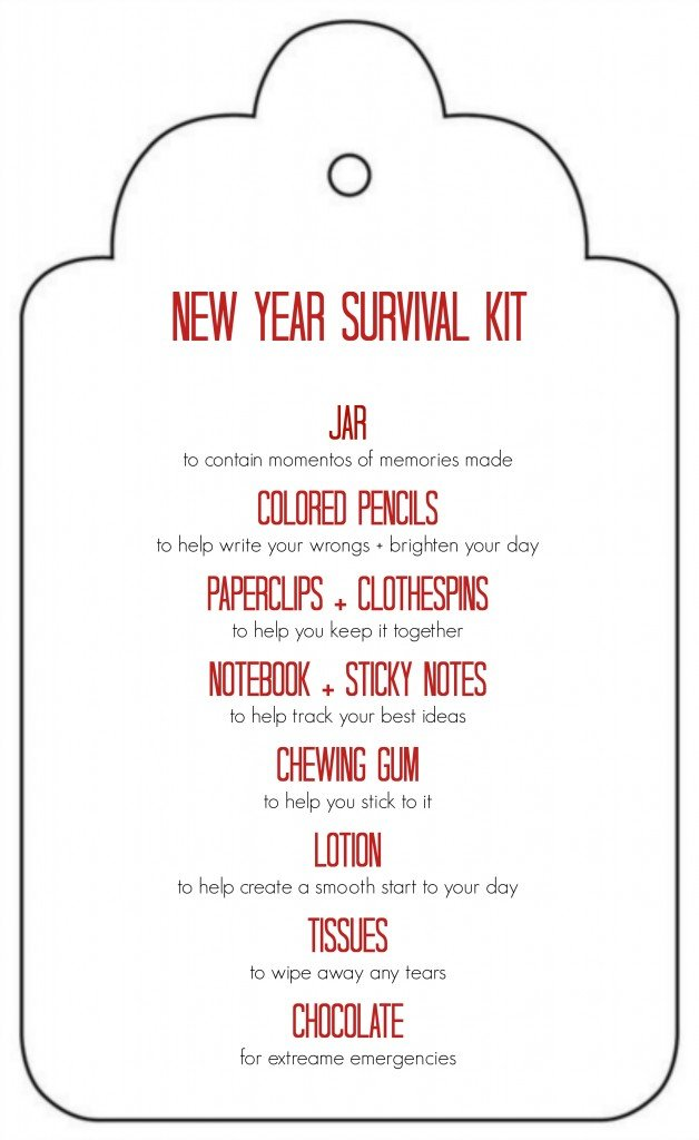 Free Printable: New Year Survival Kit Gift in a Jar - great gift idea for teachers, friends, neighbors. Can be delivered for Christmas or New Year's.