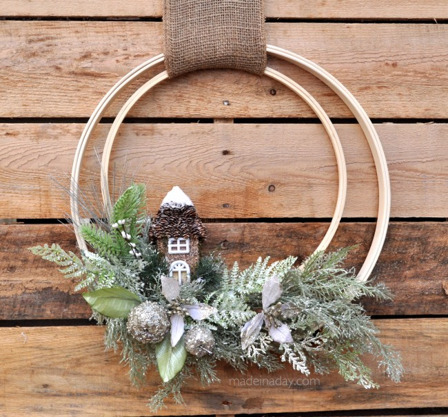 Woodland embroidery hoop wreath via @thelovelymrsp