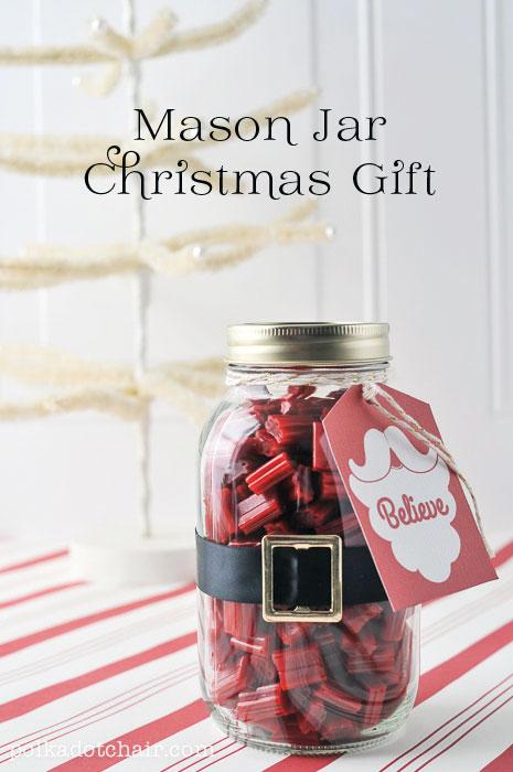Believe mason jar Christmas gift