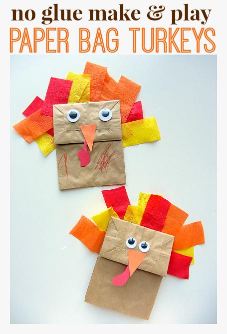 no glue paper bag turkeys