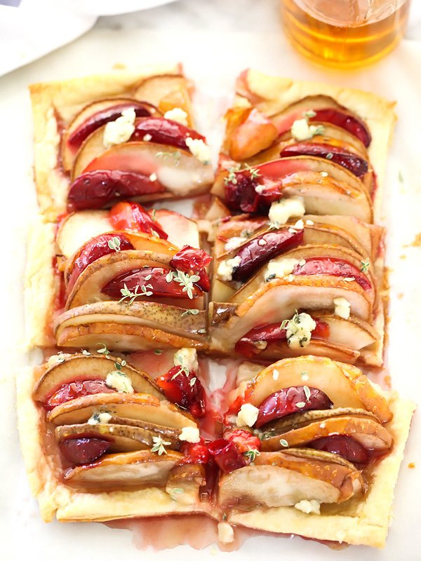 pear and plum puff pastry tart