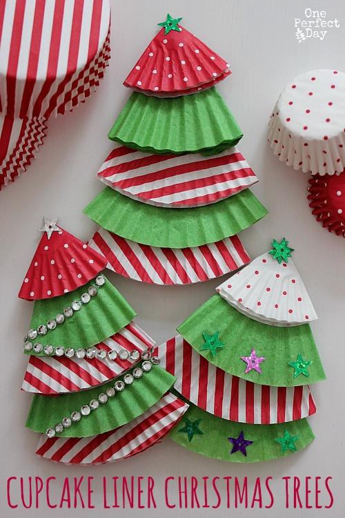 cupcake liner Christmas tree ornament