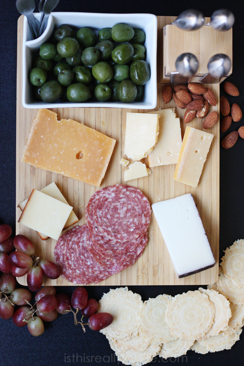 New Years Eve appetizer holiday cheese platter