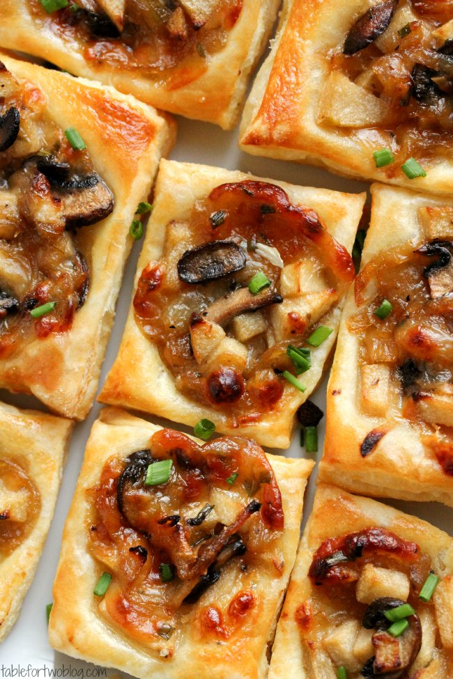 caramelized onion mushroom apple gruyere bites