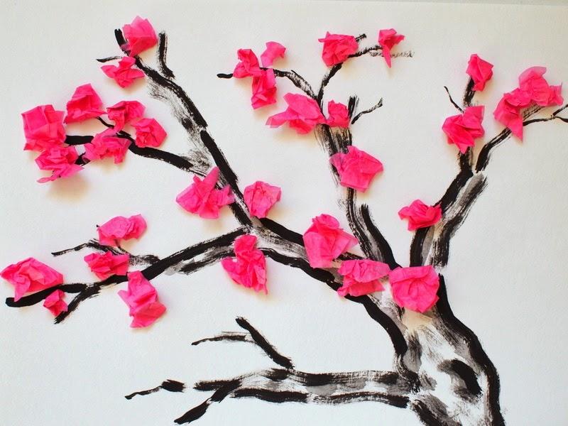 cherry blossom tissue paper flower craft