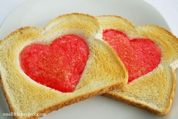 valentines day heart toast