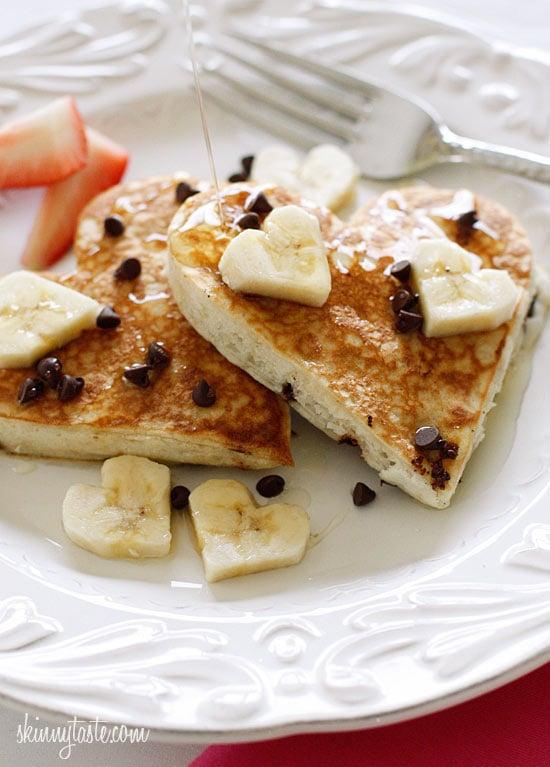 heart shaped chocolate chip banana pancakes
