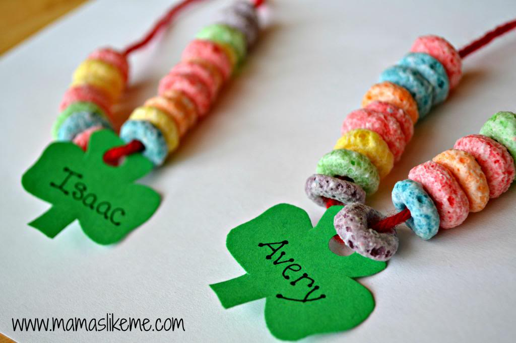 shamrock rainbow necklaces St Patricks Day craft for kids