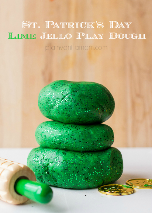 sparkly lime jello playdough