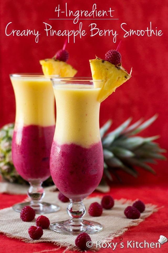 creamy pineapple berry smoothie