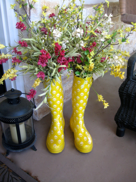 rain boots on the front porch